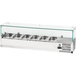 Witryna chłodnicza nastawna 6xGN 1,4 1400x335x435 mm z szybą