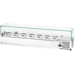 Witryna chłodnicza nastawna 7xGN 1,4 1600x335x435 mm z szybą