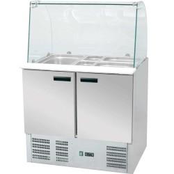 Stół chłodniczy sałatkowy z nadstawą szklaną 240 l +2,+8°C 900x700x1300