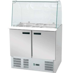 Stół chłodniczy sałatkowy z nadstawą szklaną 392 l +2,+8°C 1365x700x1300