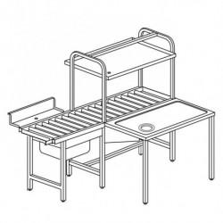 Stół załadowczy rolkowy ze zlewem, otworem na odpadki i półką na kosze (dla modeli RX COMPACT i RX EVO)