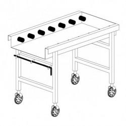 Stół wyładowczy na kółkach, rolkowy ze zbiornikem na ociekającą wodę i wyłącznikiem krańcowym