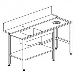 Stół załadowczy prosty, ze zlewem i otworem na odpadki