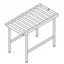 Stół wyładowczy, rolkowy, prosty, ze zbiornikiem na ociekającą wodę