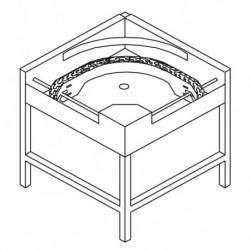 Stół narożny 90°, z taśmowym mechanizmem przesuwu koszy