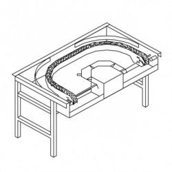 Stół narożny 180°, z taśmowym mechanizmem przesuwu koszy
