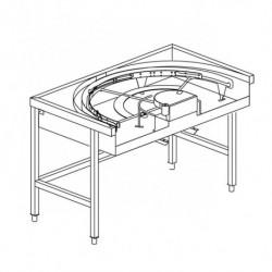 Stół narożny 180°, z mechanizmem przesuwu koszy