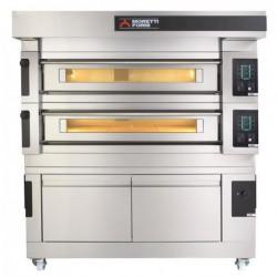 Wielokomorowy elektryczny piec do pizzy i piekarniczy S125E piec dwukomorowy z okapem i bazą