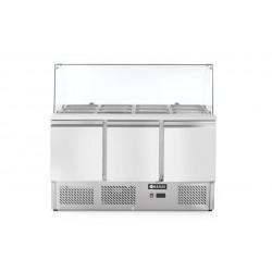 Stół chłodniczy sałatkowy 3-drzwiowy z nadstawą szklaną